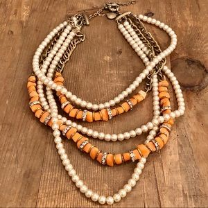 {J. Crew} Pearl Coral Crystal Necklace